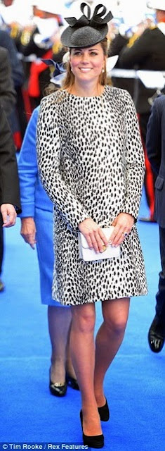 Catherine Middleton wears a dalmatian print coat by Hobbs christen the Royal Princess cruise ship, June 2013