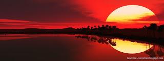 Couverture pour Facebook coucher du soleil rouge