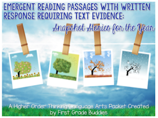 https://www.teacherspayteachers.com/Product/Emergent-Reading-Passages-Using-Text-Evidence-Snapshot-Stories-for-the-Year-1841535