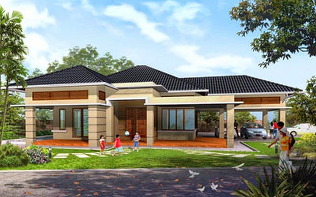 One story home design wallpaper kuovi for Single storey house plans