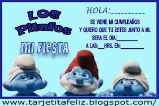 Tarjeta de Cumpleaños de Los Pitufos