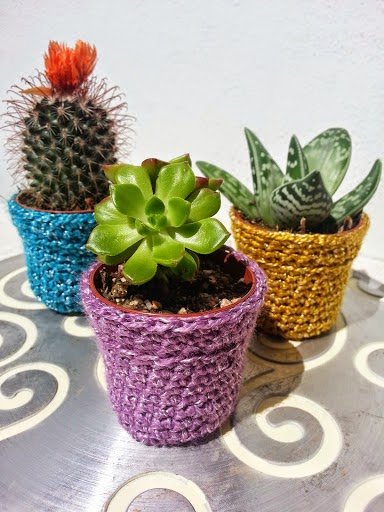 La ventana azul: 151.- Macetero para cactus con imán a crochet