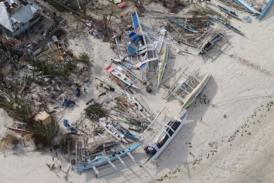 Damage on Malapascua after typhoon Haiyan