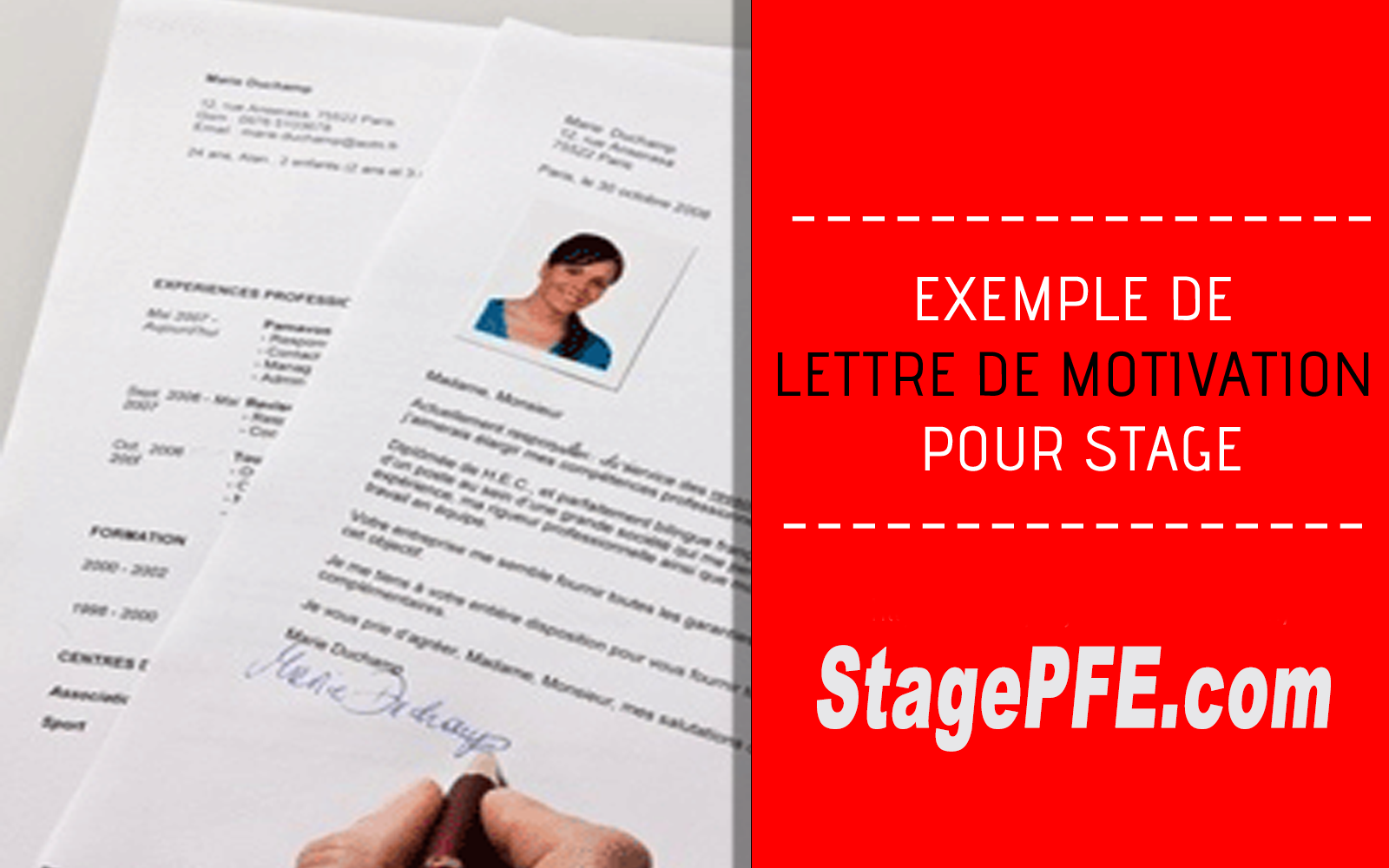 modele   exemple de lettre de motivation professionelle pour stage