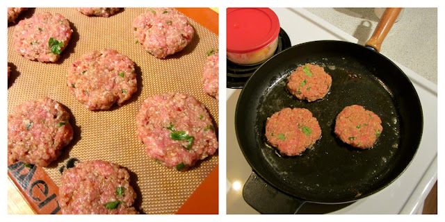 Raw sliders on a silpat. Sliders cooking in black fry pan on stove.