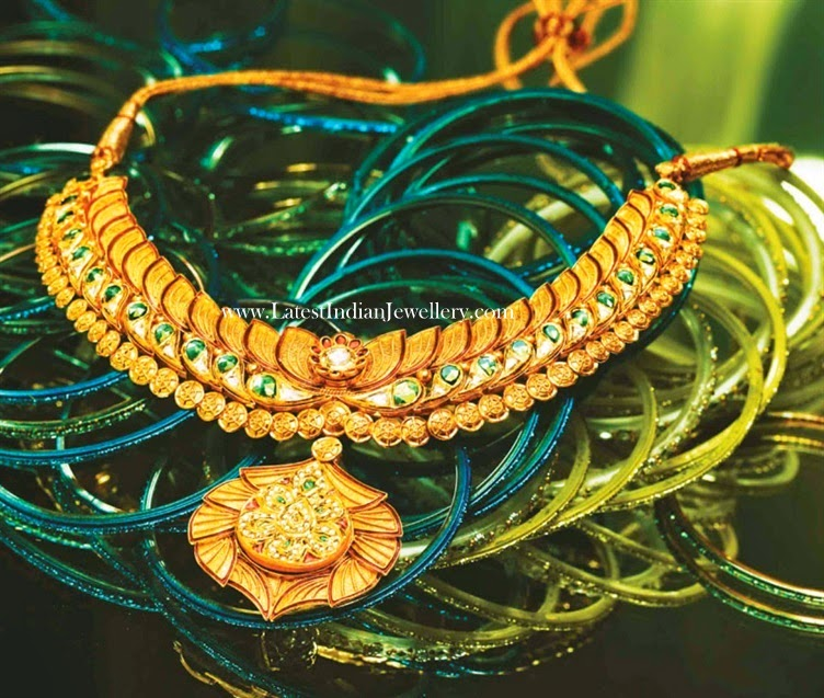Lotus Design Gold Kundan Necklace