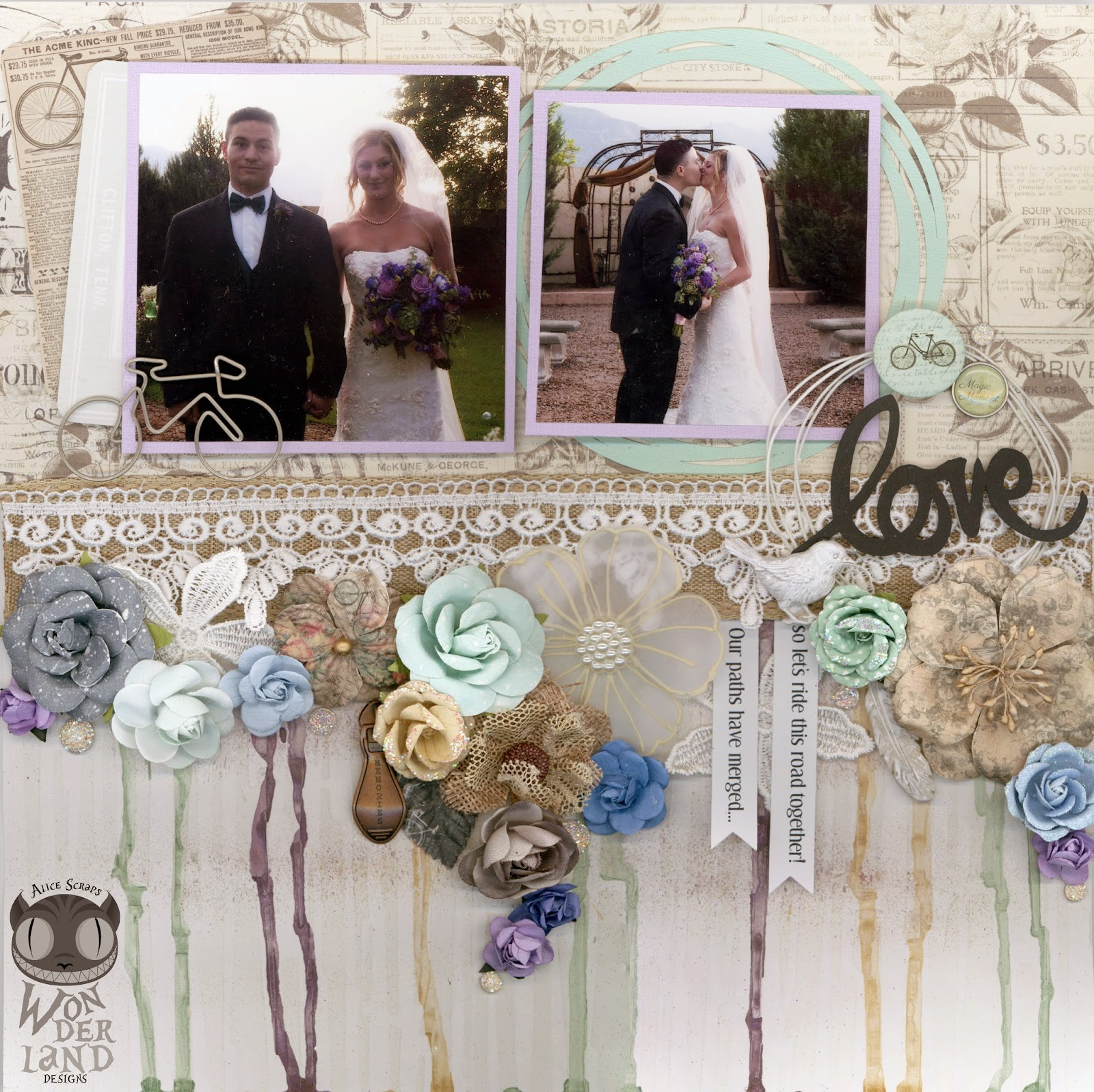 This Road:  A shabby chic wedding scrapbook layout by Alice Scraps Wonderland that is full of flowers and mixed media elements.