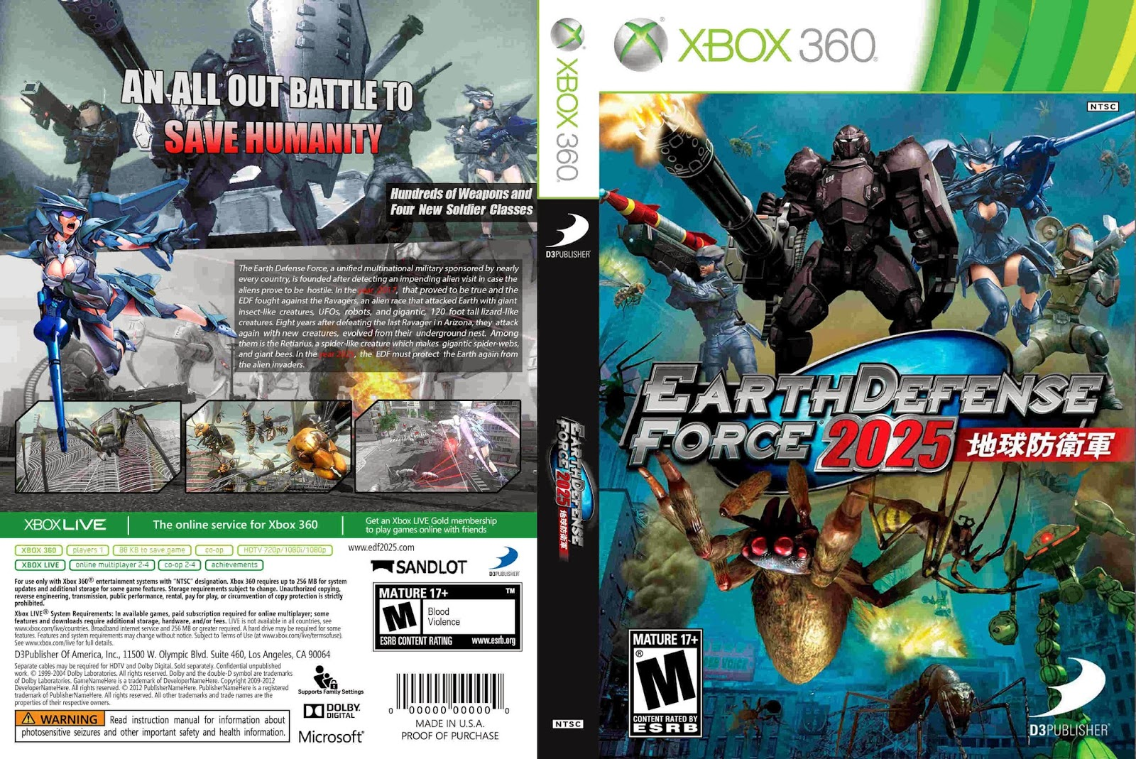 HARD GAMESS: Earth Defense Force 2025 - xbox 360