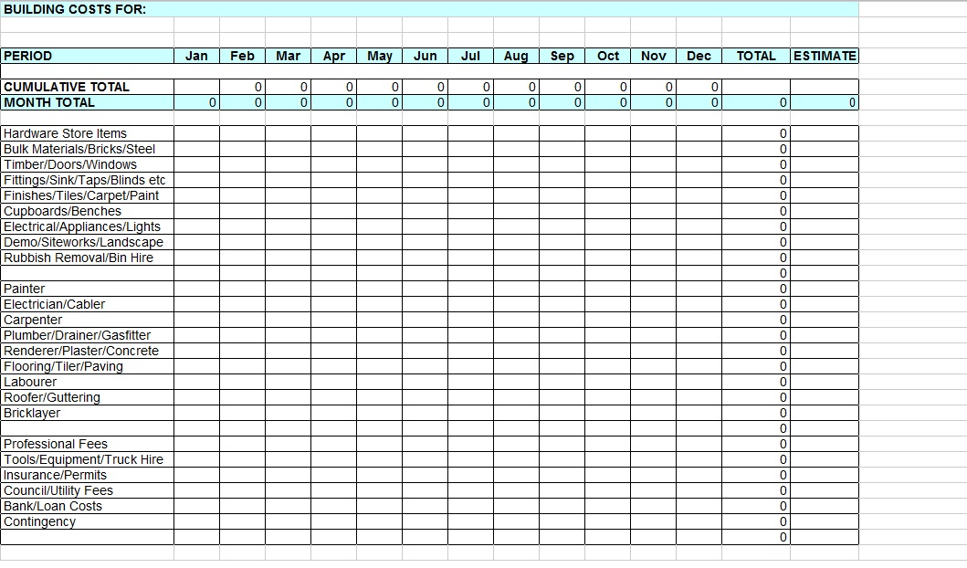Home Renovation Cost Spreadsheet Images Frompo 1