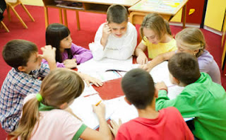 Students in a classroom working together