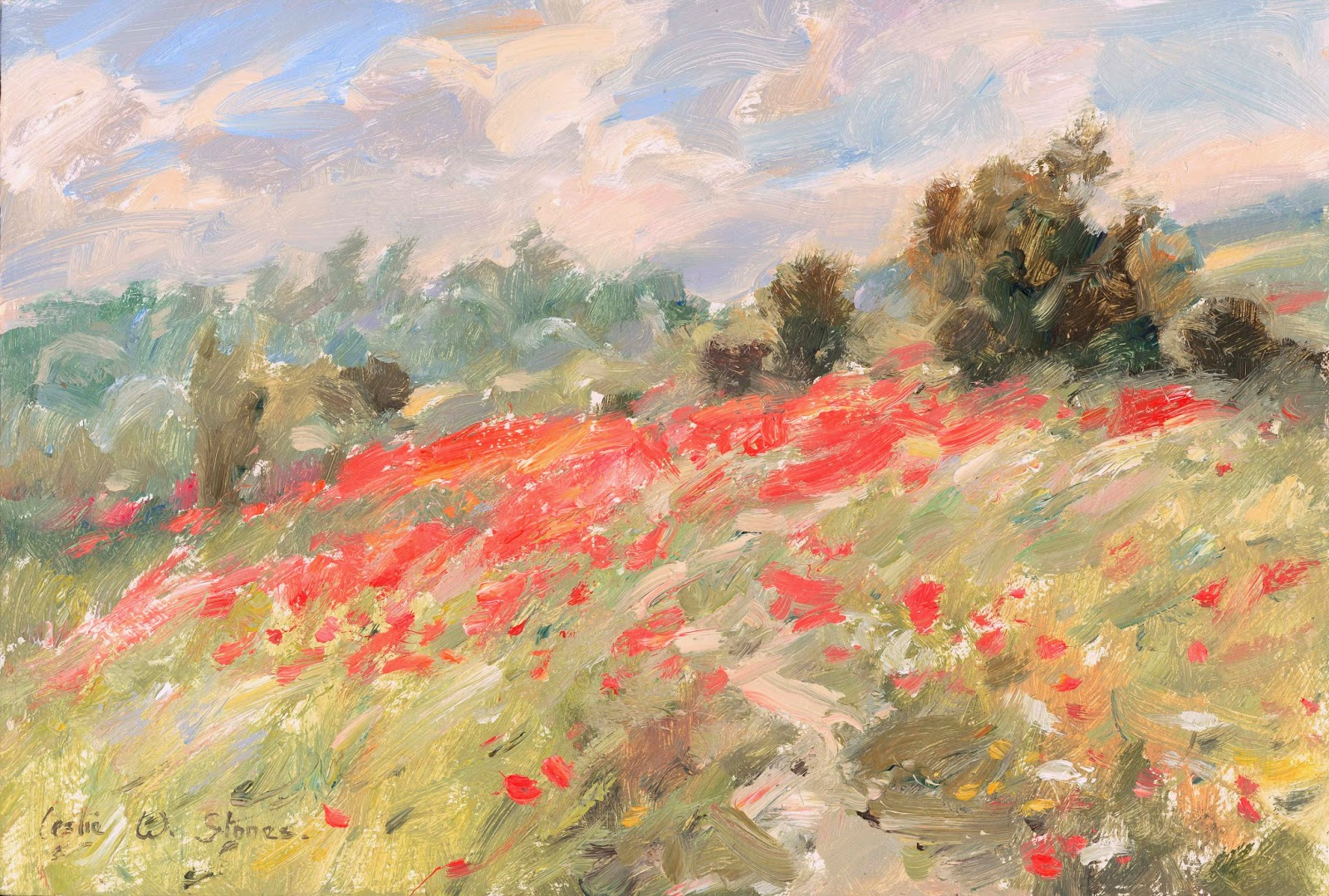 oil painting of poppies on a hillside.