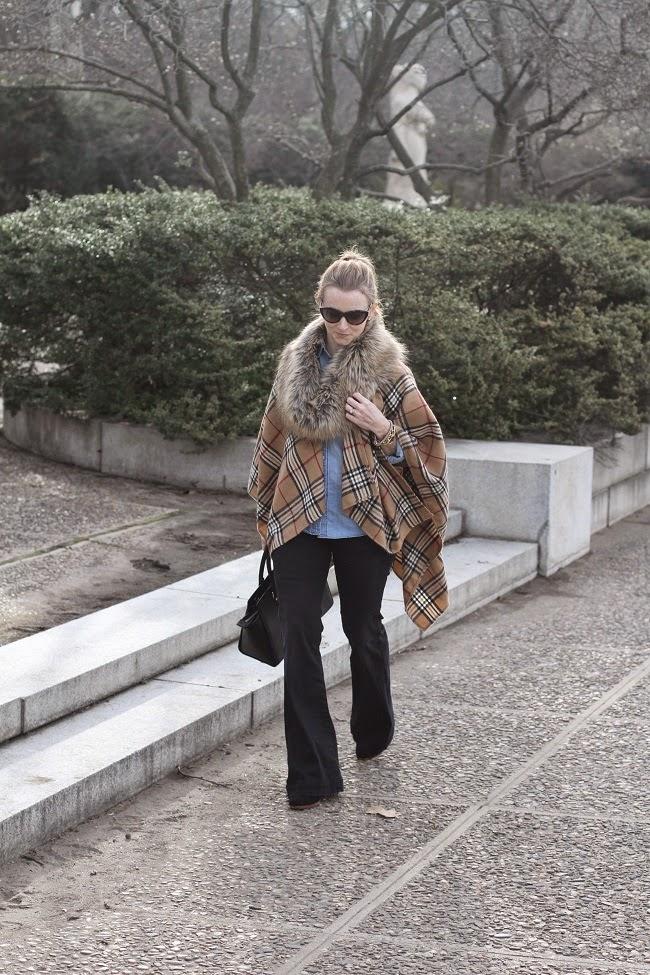 faux fur scarf, plaid wrap, citizens of humanity flare jeans, michael kors handbag, saint laurent