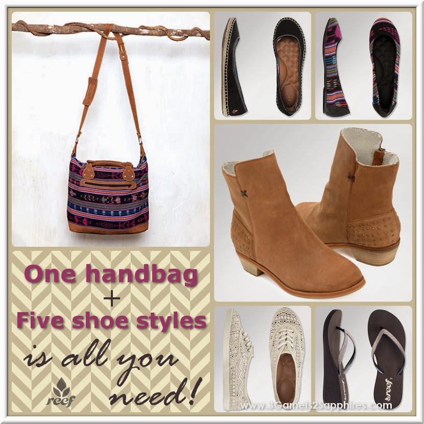 One handbag and five coordinating shoe styles for a casual look