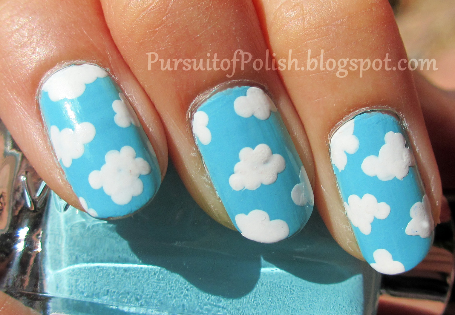 In Pursuit Of Polish Ez Pz Fluffy Clouds Nail Art