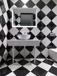 To da loos april 2013 for Black and white checkered tile bathroom