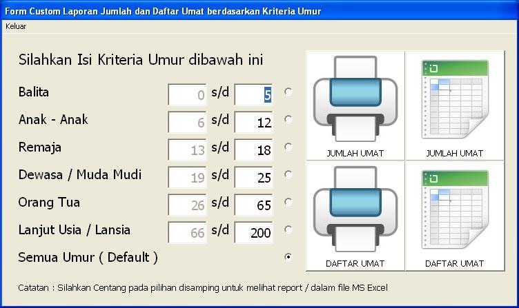 Form Entry Laporan Jumlah dan Daftar Kriteria Umur Umat