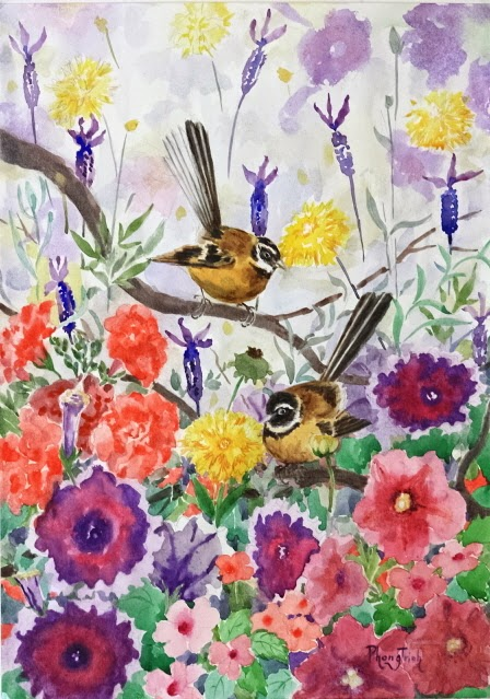 Wonderful Watercolor Outdoor Painting of  Summer Cottage Garden, Flowers and Birds, NZ Fantails 29.5x42cm