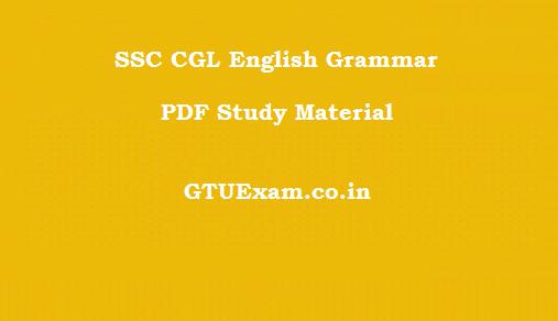 SSC CGL English Grammar PDF Study Material