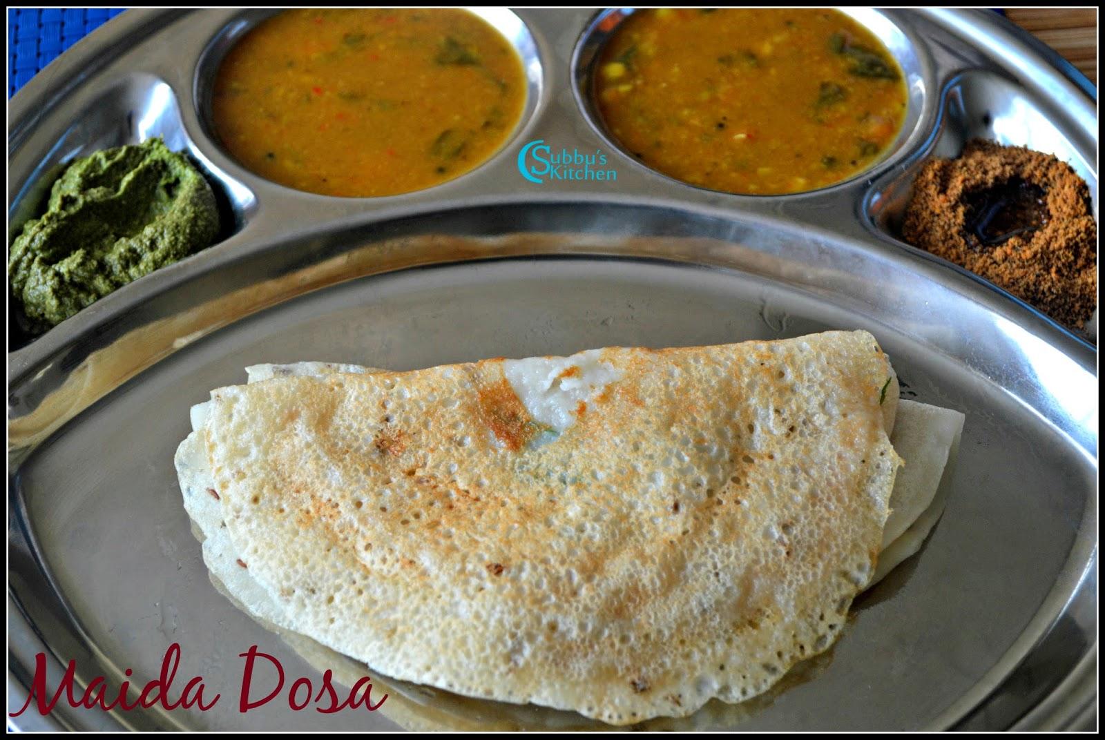 Maida Flour Dosai | Maida Dosa Recipe | Instant Maida Dosa