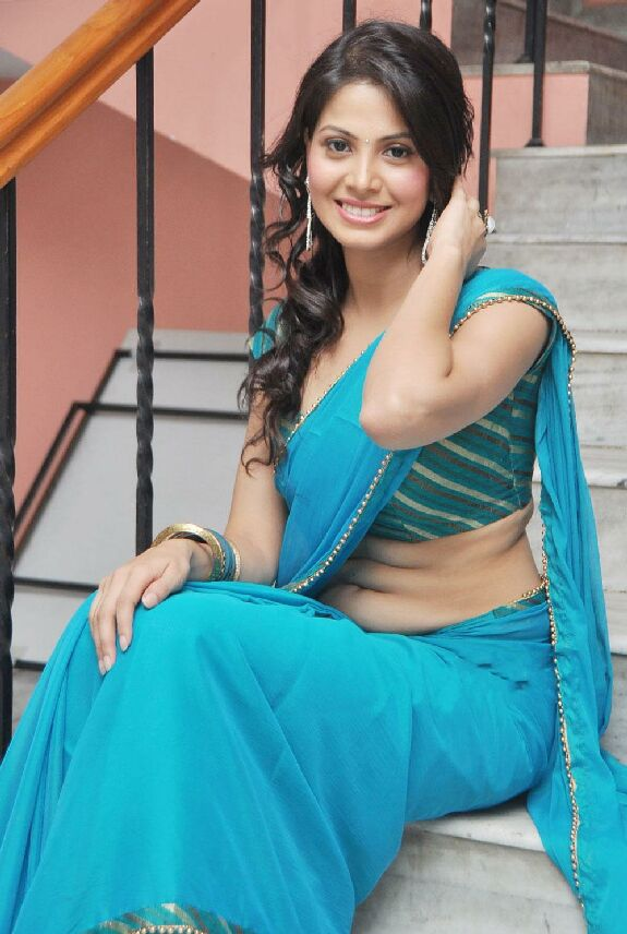 Telugu Actress Supriya Shailja In Hot Blue Saree
