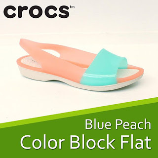Crocs ColorBlock flat blue peach
