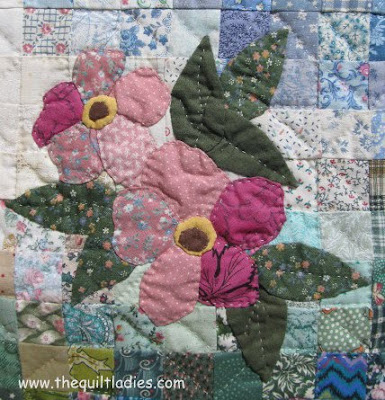 Pink Applique Flowers on Patchwork Squares