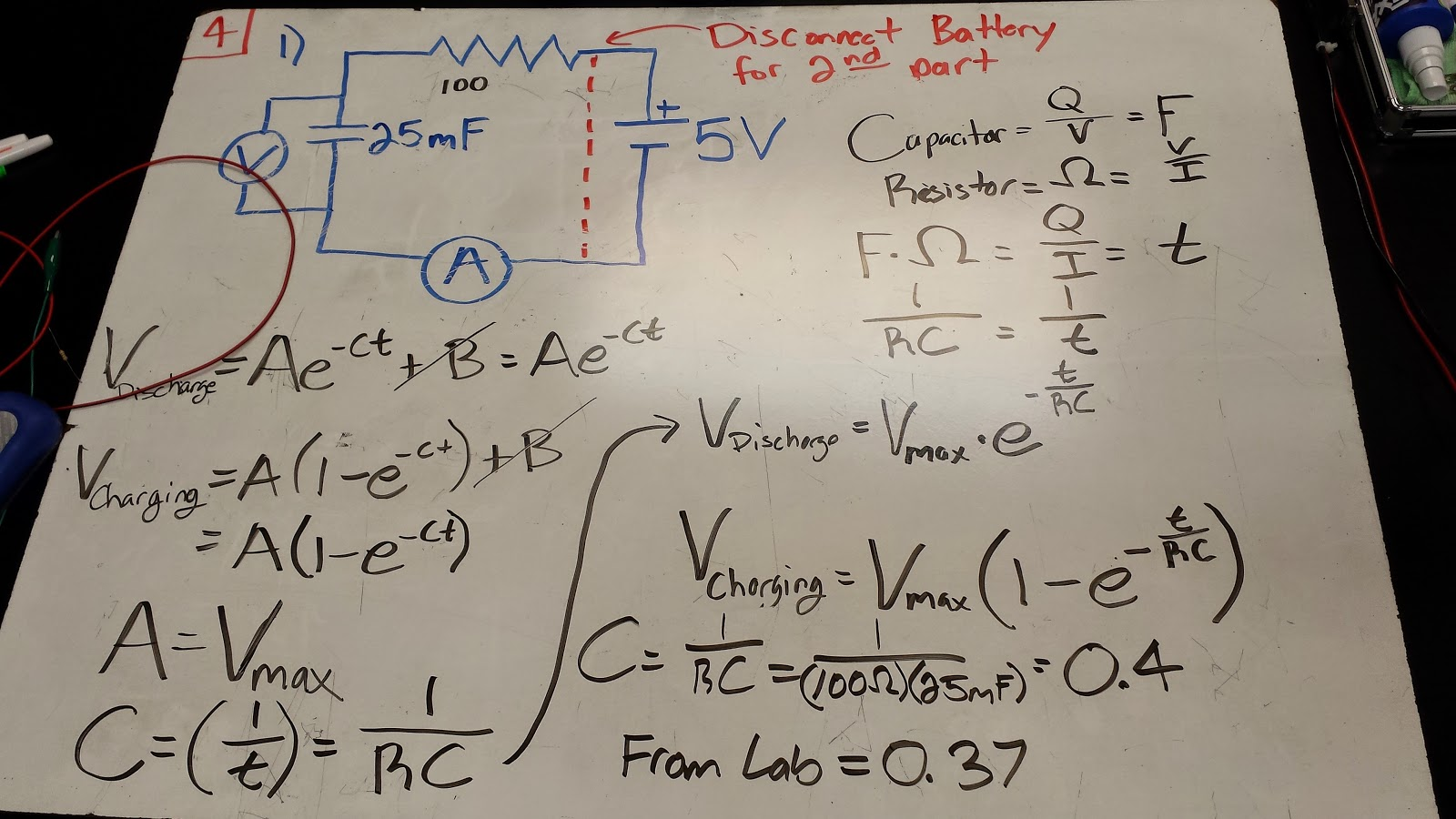 Week 9 October 23 2014 Day 18 Physics 4b Cfawcett Cap Discharge Circuit O27 Switch A Schematic Of The Experiment Charging And Discharging Capacitor Can Be Used To Calculate Result Verify Our Value That We Got Using