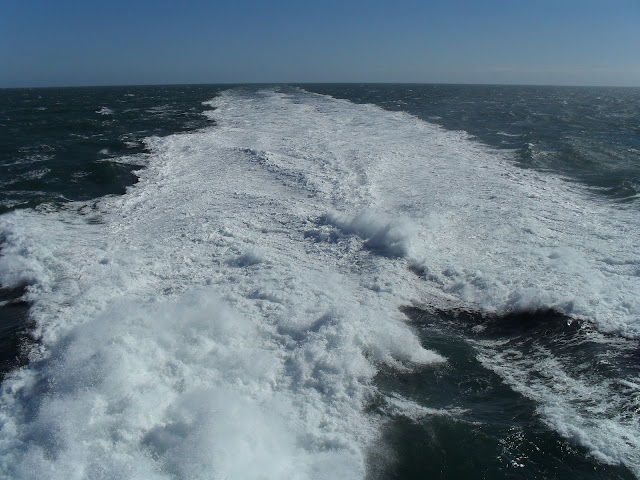 Waves made from the boat to Ireland
