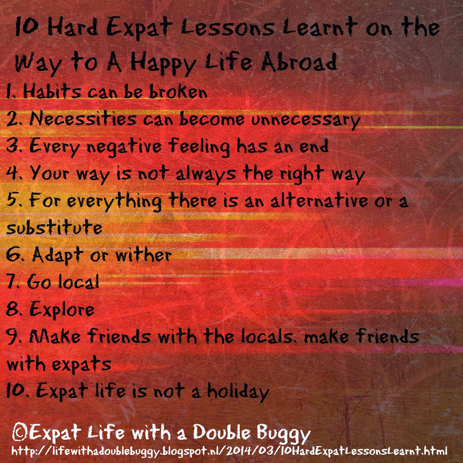 10 Hard Expat Lessons Learnt on the Way to A Happy Life Abroad by Amanda van Mulligen at Expat Life with a Double Buggy