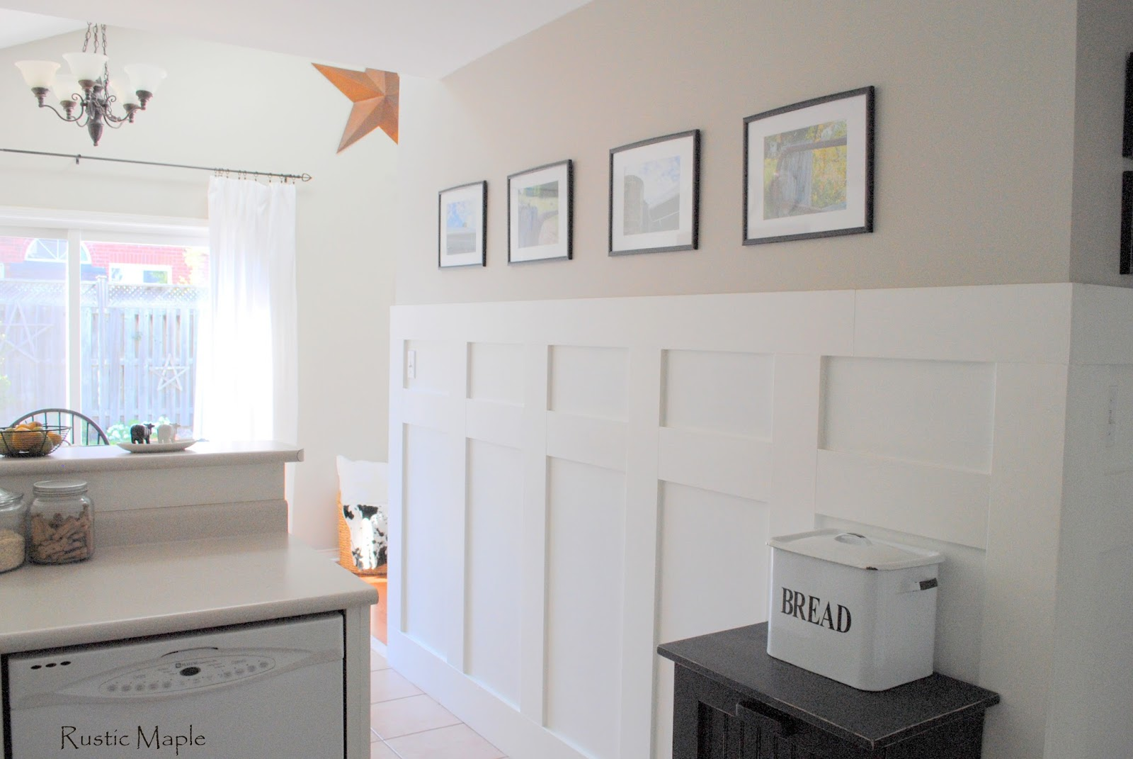 Simply white benjamin moore simple paint valspar matched for Board and batten kitchen cabinets