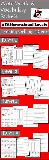 Spelling and vocabulary packets - L endings - 4 differentiated levels - free download from Raki's Rad Resources.
