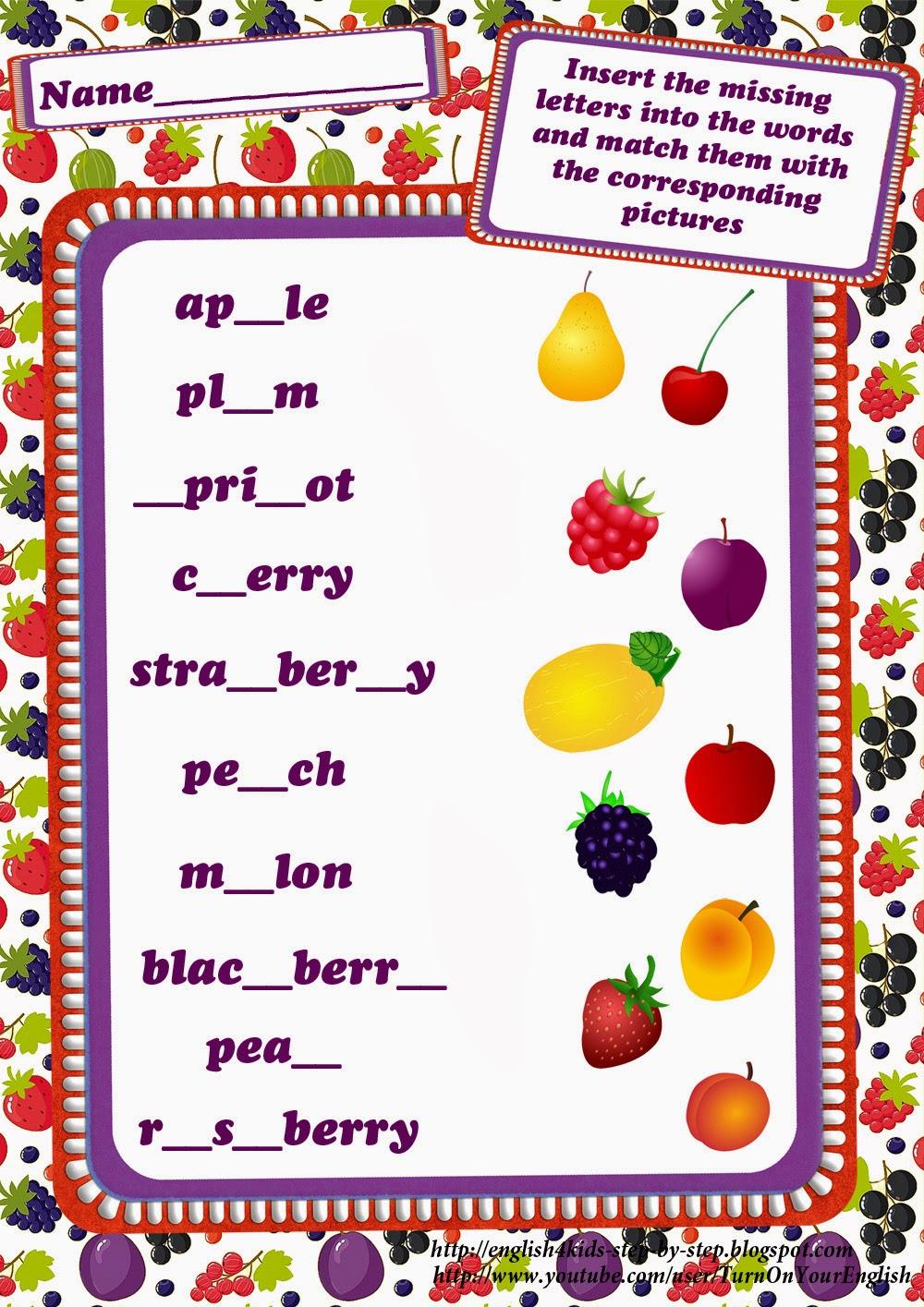 worksheet Missing Letters Worksheet fruits and berries worksheets worksheet inserting missing letters