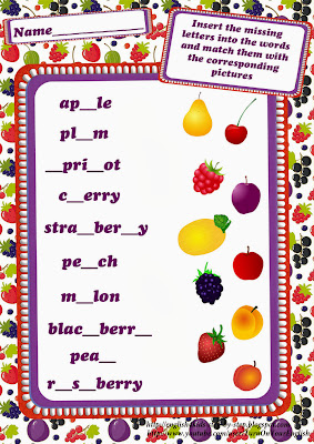 berries and fruits worksheet inserting missing letters