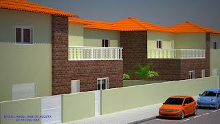 Vista de casas adosadas en una urbanización desde la izquierda
