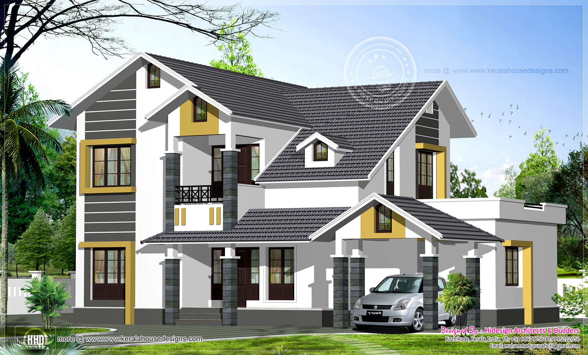 Sloping roof home exterior in 2474 kerala home for Sloped roof house plans in india
