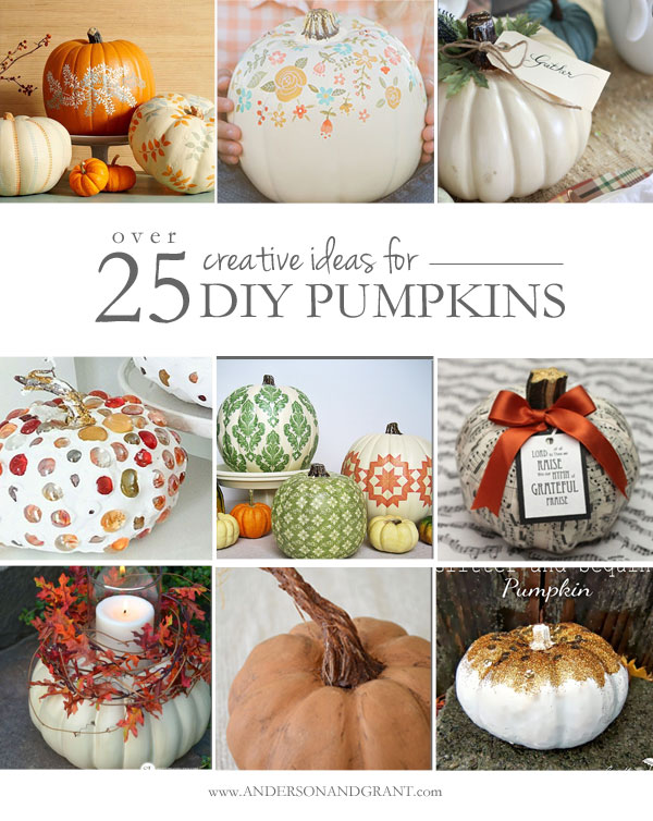 Need some inspiration for transforming plastic craft store pumpkins this fall?  Check out this collection of over 25 unique DIY ideas!  |  www.andersonandgrant.com