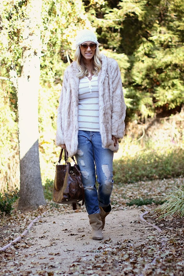boyfriend jeans and fur coat