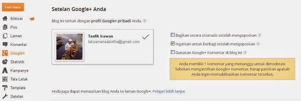 Cara Menautkan Akun Google Plus di Blog Menggantikan Profile Blogger