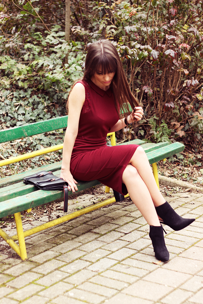 Marsala bodycon dress