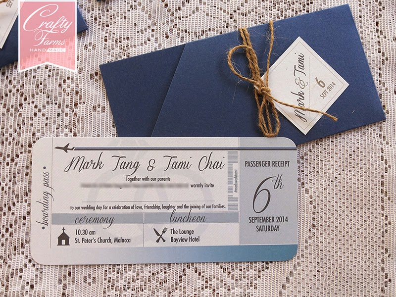 Navy blue Destination Themed Boarding Pass Wedding Card