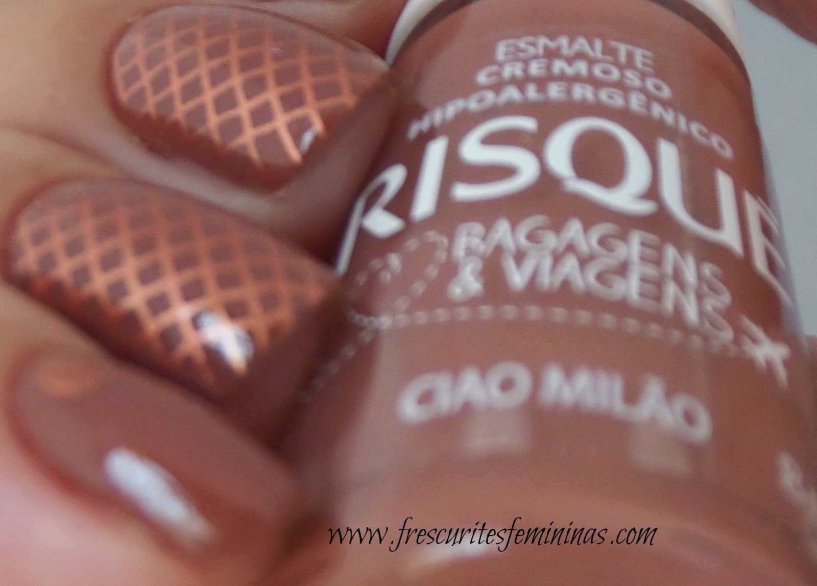 Risqué, Esmalte Risque, Ciao Milão, Mundo de unhas, Mundo de Uñas, Copper, Stamp nail polish