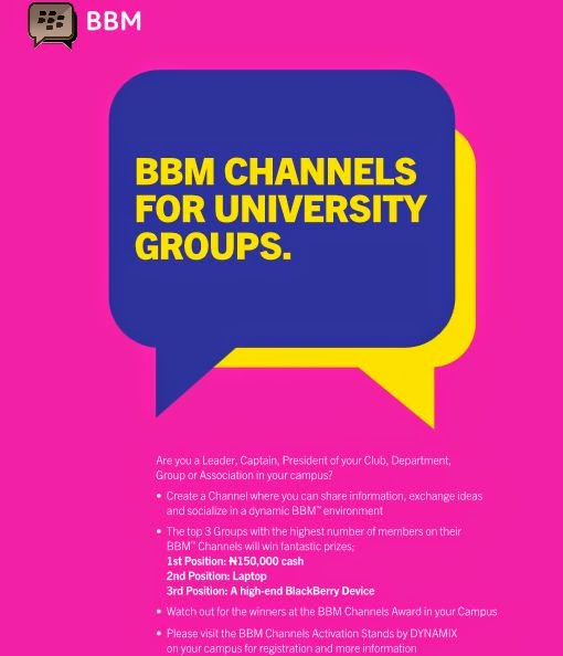 BBM CHANNNELS FOR UNIVERSITY GROUP