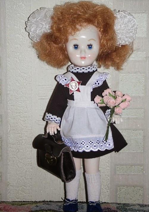 кожаный портфель для куклы - школьницы