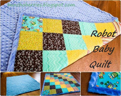 The berry bunch robot baby quilt for Robot quilt fabric