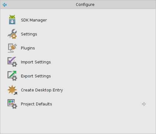 Android Studio - Option 'Configure'