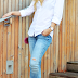 White shirt, ripped jeans & cobalt