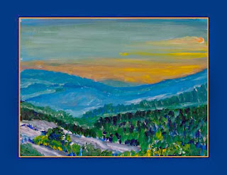 oil painting of sunset in the mountains of north carolina