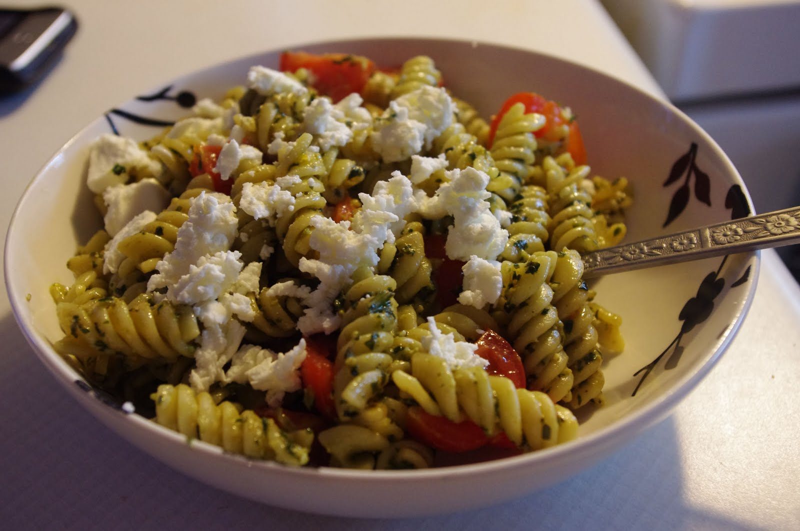Pasta With Basil Pesto, Pine Nuts And Cherry Tomatoes Recipes ...