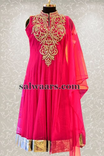 Pink Gold Work Churidar