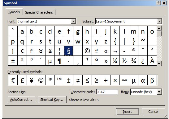 Buckeye Legal Tech Assign A Shortcut Key To The Section Symbol
